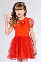 Детское красивое нарядное трикотажное платье с фатином