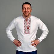 Трикотажная вышиванка мужская с красно-черной вышивкой