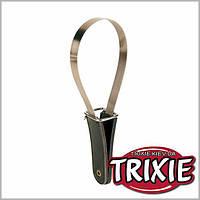 Скребница с кожаной ручкой TRIXIE