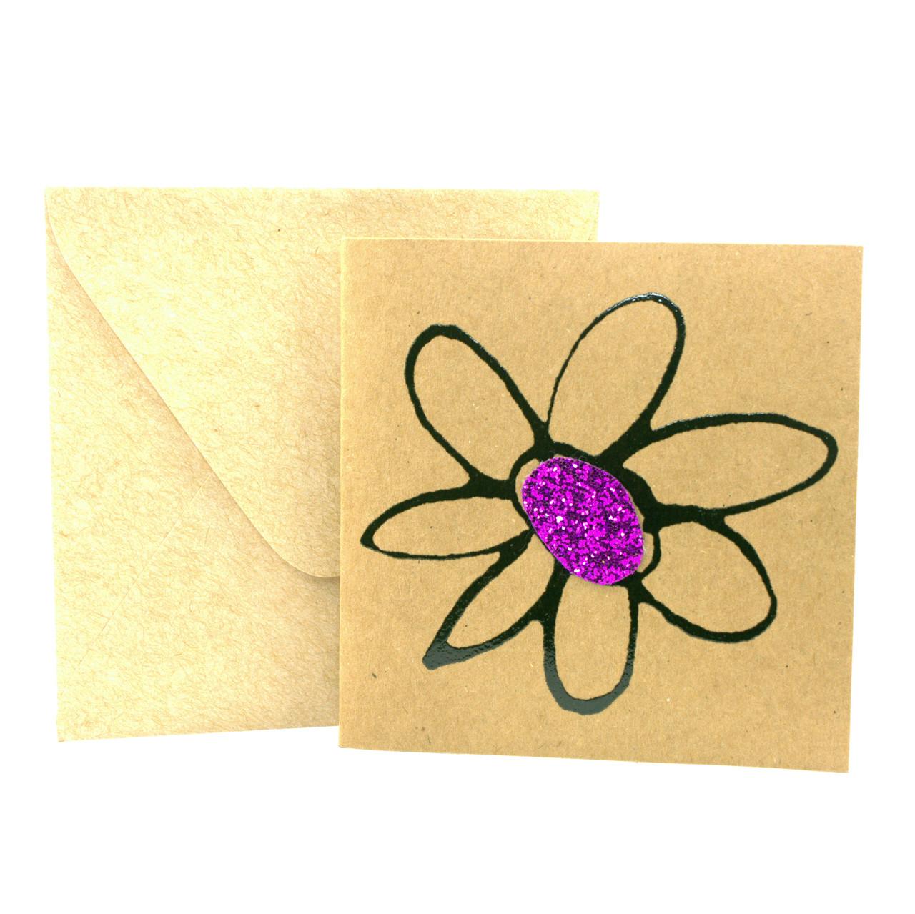 """Открытка """"Цветочек"""" из крафт картона декорированная блестками + конверт"""