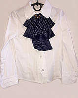 Блузка для девочки белого цвета в школу со съемным жабо  059