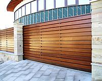 Сдвижные ворота с зашивкой деревом 2,8м*2м