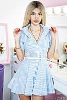 Хлопковое женское платье-рубашка в полоску
