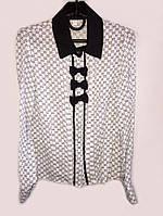 Яркая блузка для девочки в  школу с черным воротником и банком  061