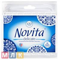 Novita Delicate Палочки ватные гигиенические в полиэтиленовом пакете 100 шт.