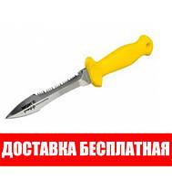 Подводный нож Sargan Тургояк-Стропорез; зеркальный; жёлтая рукоять