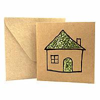 """Открытка """"Домик"""" из крафт картона декорированная блестками + конверт"""