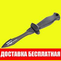 Нож для подводной охоты Sargan Тургояк-Стропорез; чернёный; чёрная рукоять сарган
