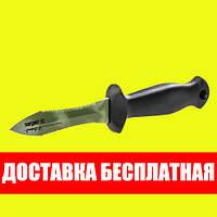 Нож для подводной охоты Sargan Тургояк-Стропорез Мини; зелёный камуфляж сарган