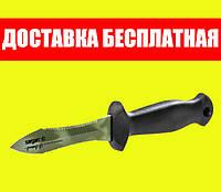 Нож подводного охотника Sargan Тургояк-Стропорез; зелёный камуфляж; чёрная рукоять сарган