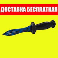 Нож подводного охотника Sargan Тургояк-Стропорез; синий камуфляж; чёрная рукоять сарган
