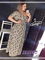 """Платье женское красивое больших размеров из креп-шифона """"Ромашки"""""""