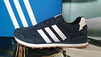 Мужские кроссовки Adidas Neo замша темно-синие