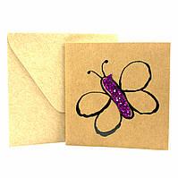 """Открытка """"Бабочка"""" из крафт картона декорированная блестками + конверт"""