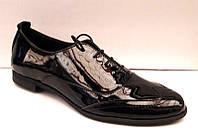 Туфли-оксфорды женские кожаные темно-коричневые, черные Uk0023