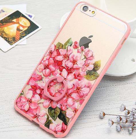 Чехол с цветами пластик+розовый ободок силикон  для IPhone 6/6s