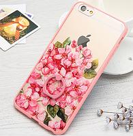 Чехол с цветами пластик+розовый ободок силикон  для IPhone 6/6s, фото 1