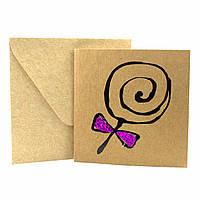 """Открытка """"Карамель на палочке"""" из крафт картона декорированная блестками + конверт"""