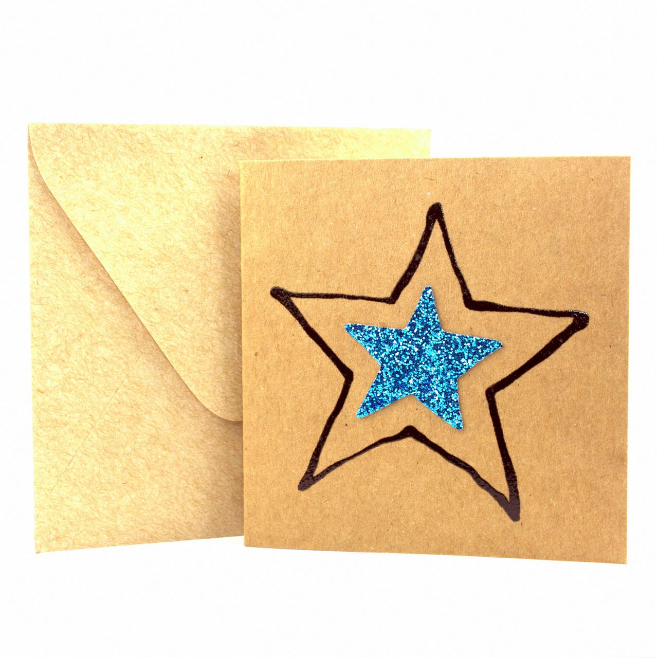 """Открытка """"Звездочка"""" из крафт картона декорированная блестками + конверт"""