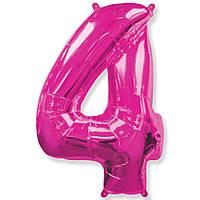 Фольгированный шар цифра 4 розовая 90 см
