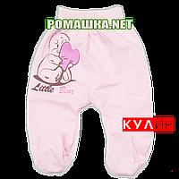 Ползунки (штанишки) на широкой резинке р. 56 ткань КУЛИР 100% тонкий хлопок ТМ Алекс 3166 Розовый А