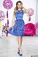 Нарядное женское платье короткое гипюровый верх подкладка атлас,цвет синий,нежно розовый