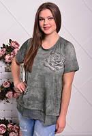 Футболка женская вышивка роза со стразами, 50- 58 размер