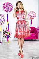 Нарядное женское платье короткое гипюровый верх подкладка атлас,цвет красный