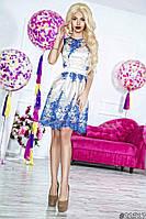 Нарядное женское платье короткое гипюровый верх подкладка атлас,цвет белый с синим гипюром