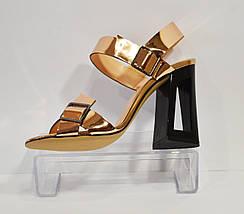Босоножки золотистые на каблуке Lottini 11-148, фото 3
