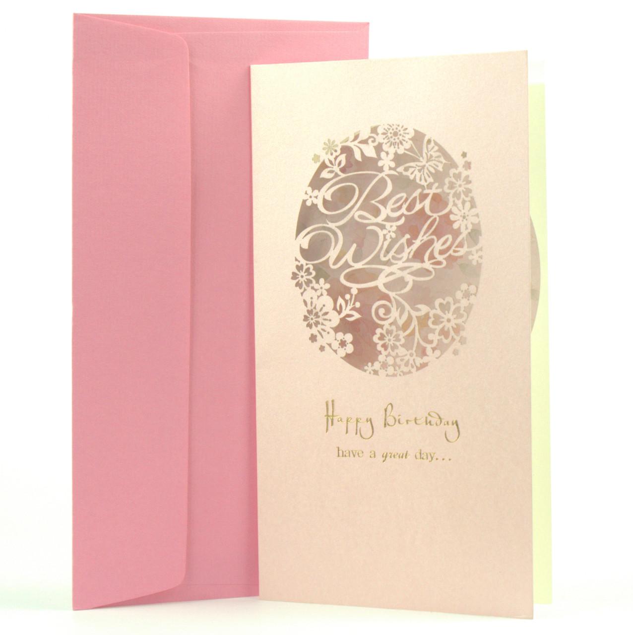 "Открытка Happy Birthday ""Best Wishes"" с перфорацией розовая"