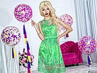 Нарядное женское платье короткое гипюровый верх подкладка атлас,цвет зеленый