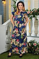 Платье батальное 2132 синие цветы