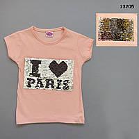Футболка I love Paris для девочки (двусторонние пайетки). 86, 110 см