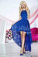Нарядное женское платье с асимметричной юбкой,ткань гипюр,цвет синий,сирень