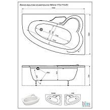 Акриловая ванна асимметричная Bliss Milena 170x110 правосторонняя, фото 3