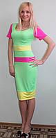 Платье яркое летнее салат, фото 1