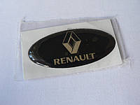 Наклейка s надпись овал Renault 45х20х1.2мм силиконовая эмблема логотип марка бренд на авто Рено серебристая
