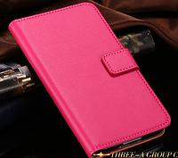 Кожаный чехол-книжка для Samsung Galaxy S5 i9600 SM-G900 розовый, фото 1