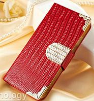 Роскошный чехол-книжка для iPhone 5 5S красный, фото 1
