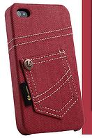 Уникальный чехол бампер для iPhone 4, 4S джинс красный