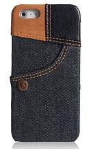 Уникальный чехол бампер для iPhone 5, 5S джинс черный