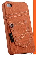 Уникальный чехол бампер для iPhone 4, 4S джинс оранжевый