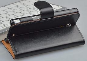 Кожаный чехол-книжка для Sony Xperia ZR M36h C5502 C5503 черный, фото 3