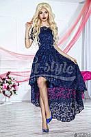 Нарядное женское платье с асимметричной юбкой,ткань гипюр,цвет синий,красный
