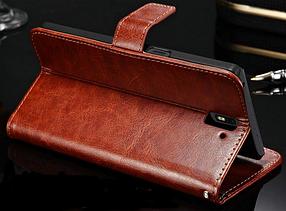 Кожаный чехол-книжка для Oneplus One коричневый, фото 3