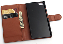 Кожаный чехол-книжка для  Zte Nubia Z9 Mini коричневый, фото 2