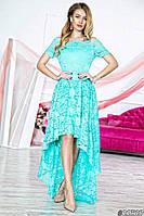 Нарядное женское платье с асимметричной юбкой,ткань гипюр,цвет ментол,белый