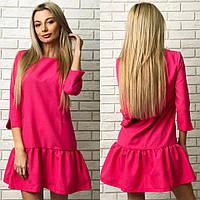 Красивое малиновое платье с оборкой и карманами. Арт-1258/38
