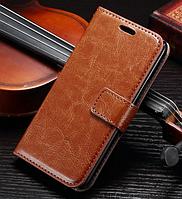 Кожаный чехол-книжка для Samsung Galaxy A3 A300 коричневый